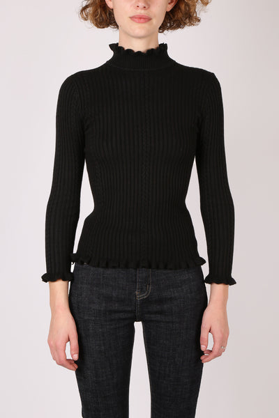 Frill Ribbed Top Black