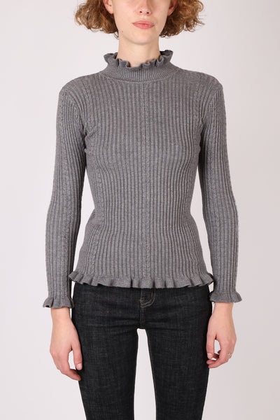 Frill Ribbed Top Grey