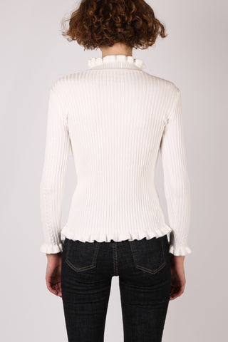 Frill Ribbed Top White