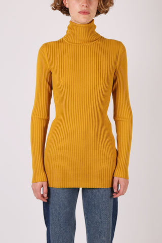 Ribbed Turtleneck Mustard