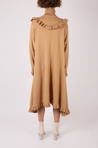 Ruffle Knit Dress Tan
