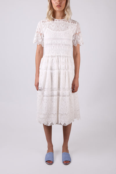 Scalloped Lace Dress White - ShopGoh