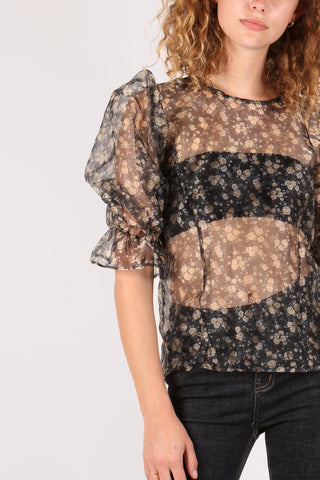 Floral Puff Sleeve Top Black