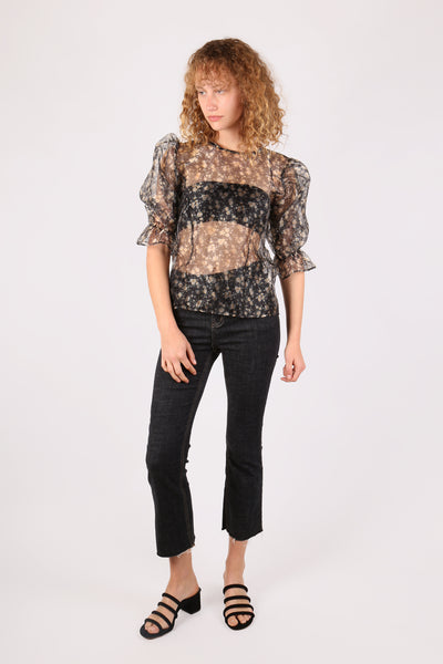 Floral Puff Sleeve Top Black - ShopGoh