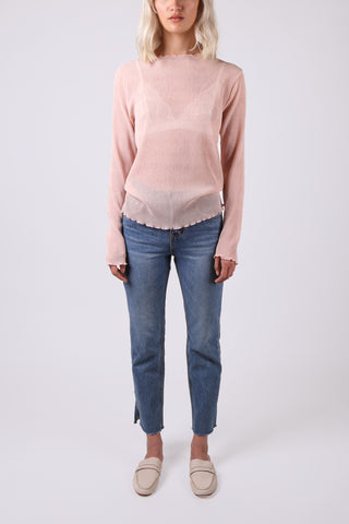 Sheer Long Sleeve Top Pink