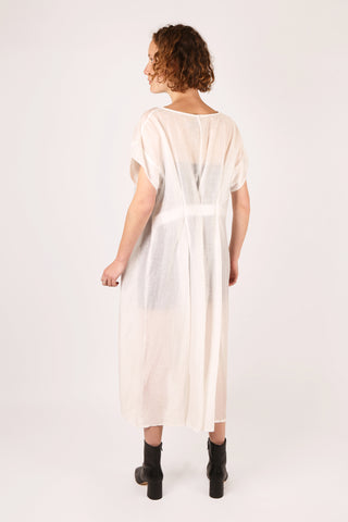 Sheer Pleat Back Dress White