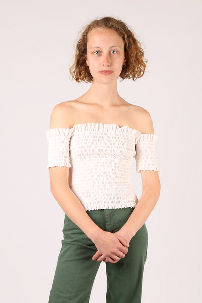 Shirred Off The Shoulder Top White