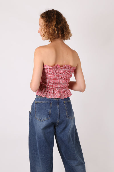 Shirred Embroidered Tube Top Red Gingham