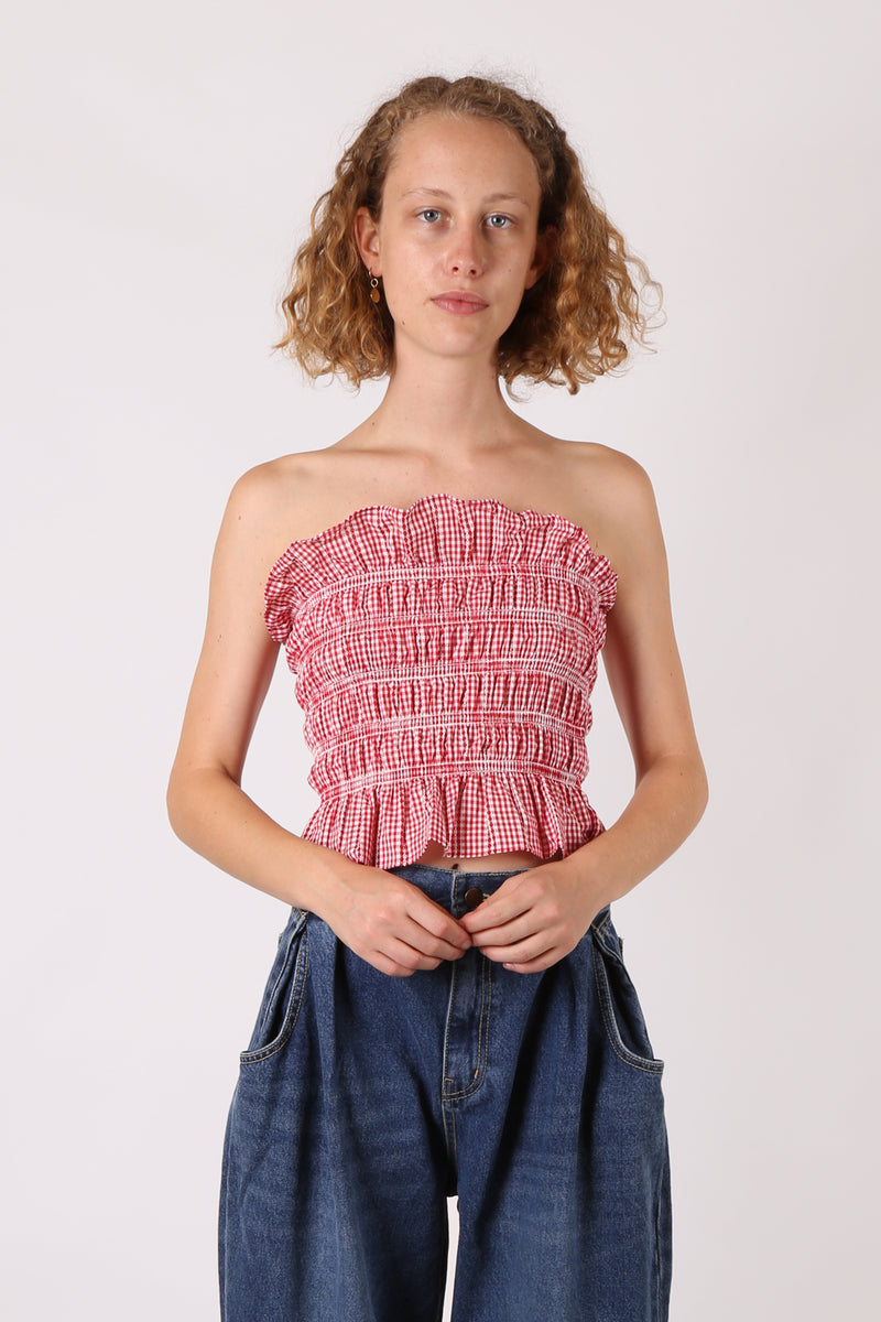 e4dbe96deb3 Shirred Embroidered Tube Top Red Gingham - ShopGoh ...