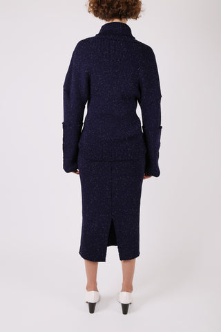 Speckled Knit Skirt Navy