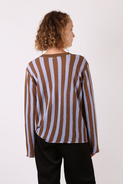 Striped Knit Light Blue/Brown - ShopGoh