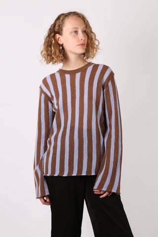 Striped Knit Light Blue/Brown