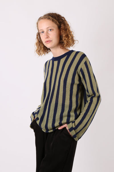 Striped Knit Navy/Green - ShopGoh