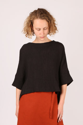Asymmetric Textured Top Black