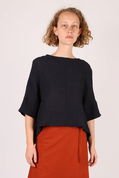 Asymmetric Textured Top Navy