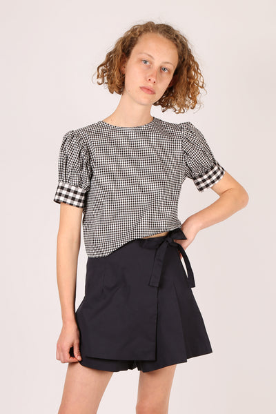 Gingham Tie Back Top Black/White
