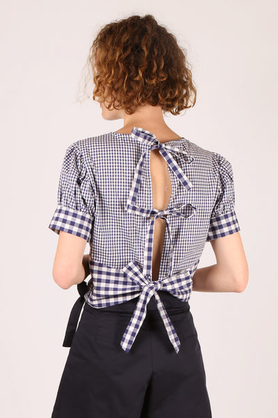 Gingham Tie Back Top Blue/White