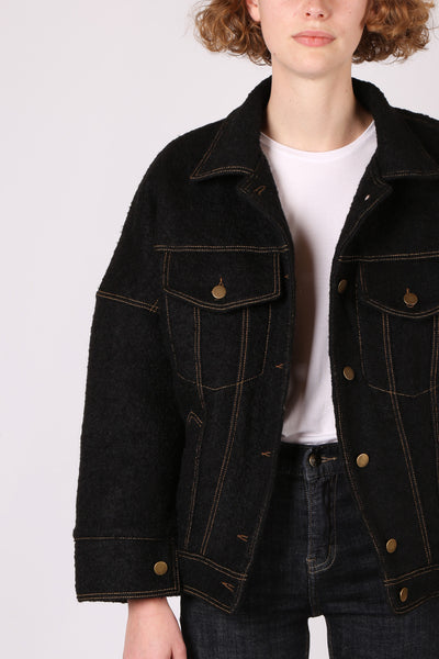 Wool Stitched Jacket Black