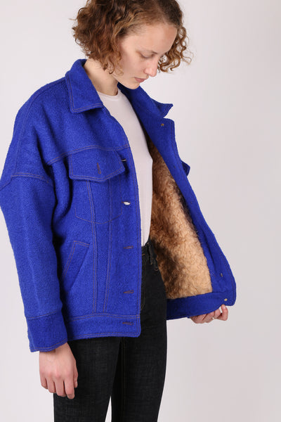 Wool Stitched Jacket Blue