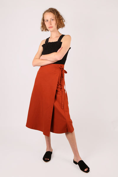 Wrap Midi Skirt Terracotta
