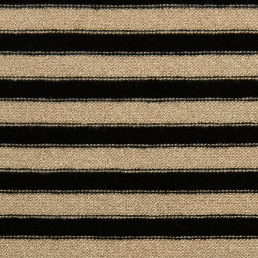 black Ponte with black and white stripe Fabric Swatch