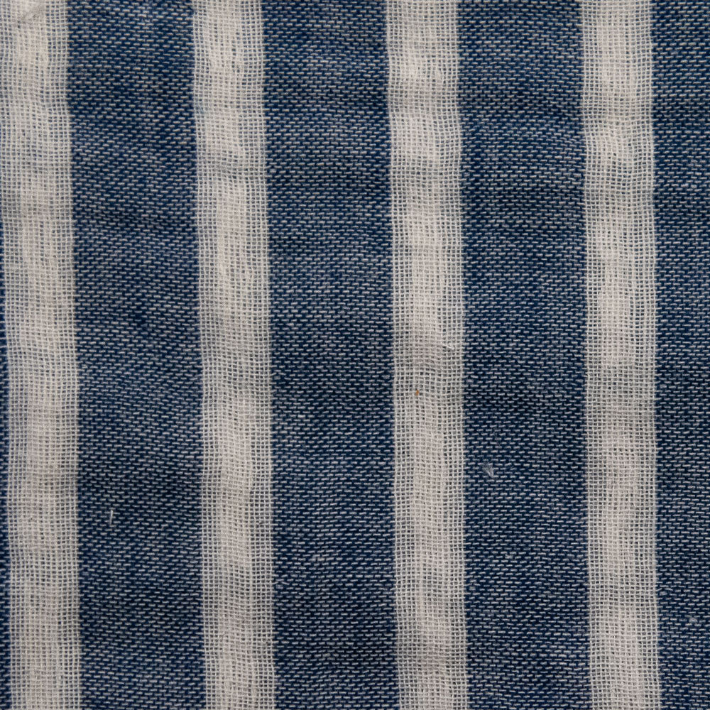 blue and white double faced stripe Fabric Swatch