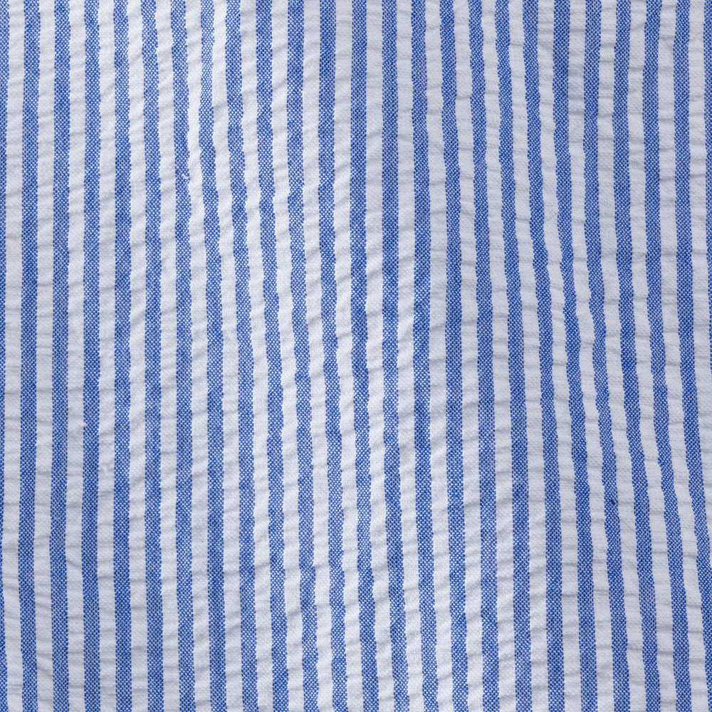 blue cotton seersucker stripe Fabric Swatch