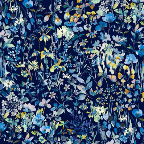 blue liberty of london silk wildflowers Fabric Swatch