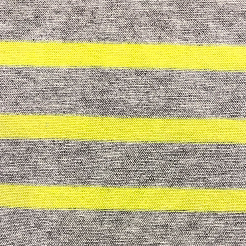 citrus and grey rayon stripe Fabric Swatch