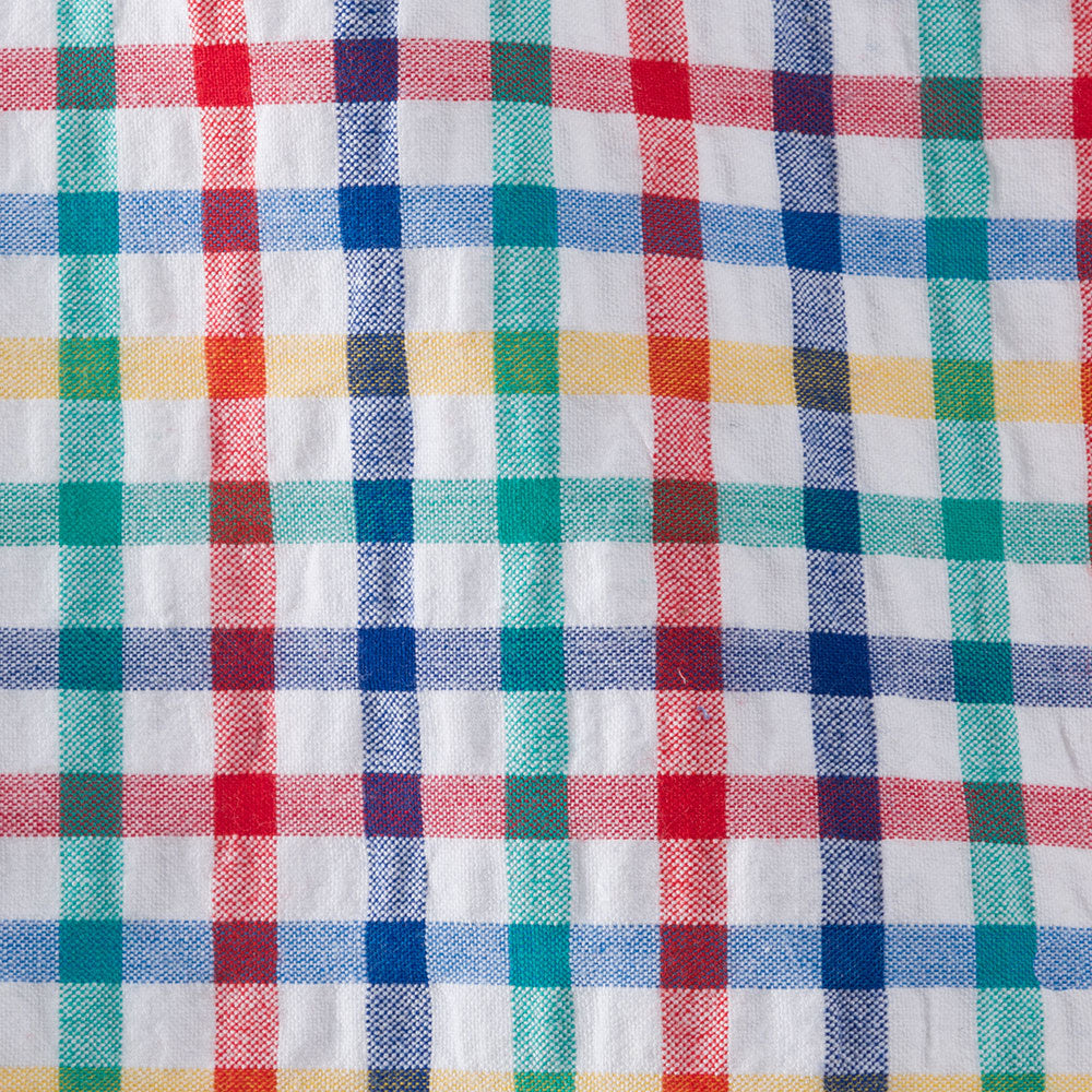 multi-color seersucker check Fabric Swatch