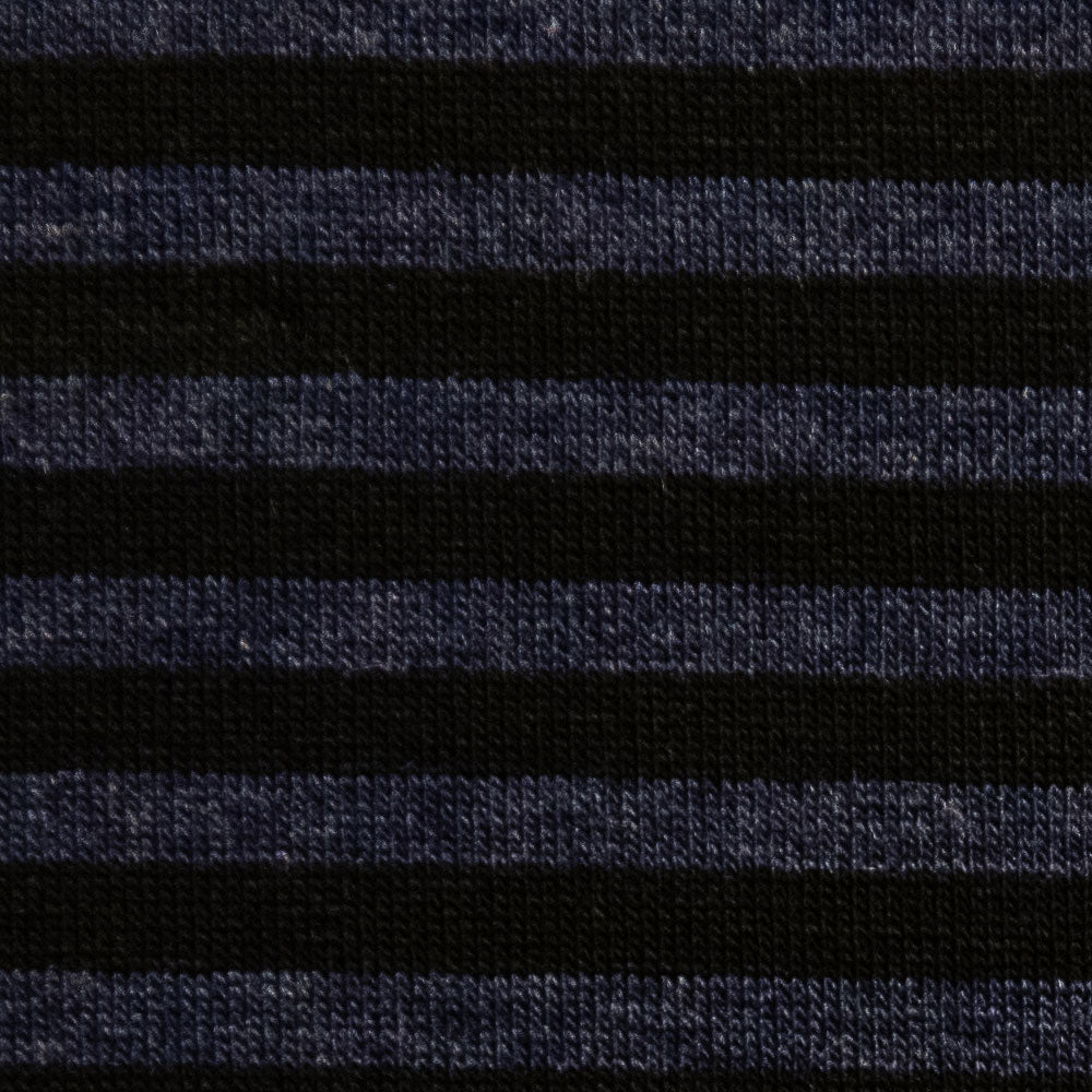 navy rayon with blue and black stripe Fabric Swatch