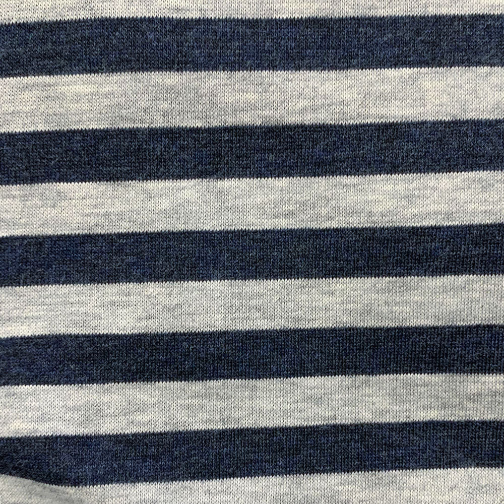 organic navy cotton stripe Fabric Swatch