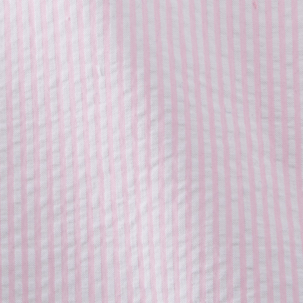 pink cotton seersucker stripe Fabric Swatch