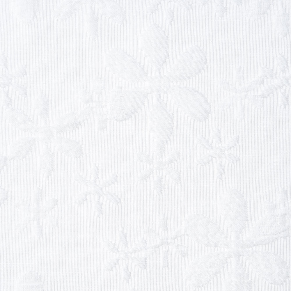 white cotton quilted floral jacquard Fabric Swatch