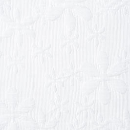 white quilted floral jacquard Fabric Swatch