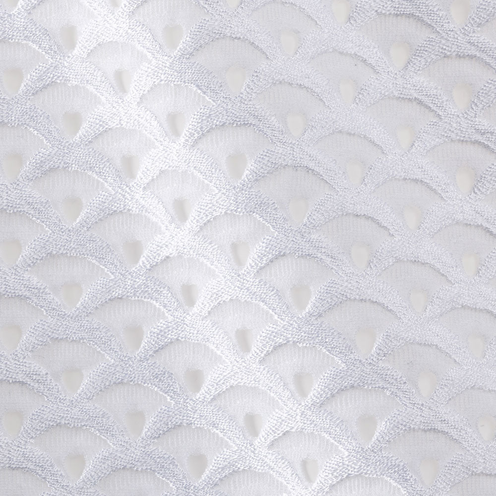 white scalloped knit Fabric Swatch