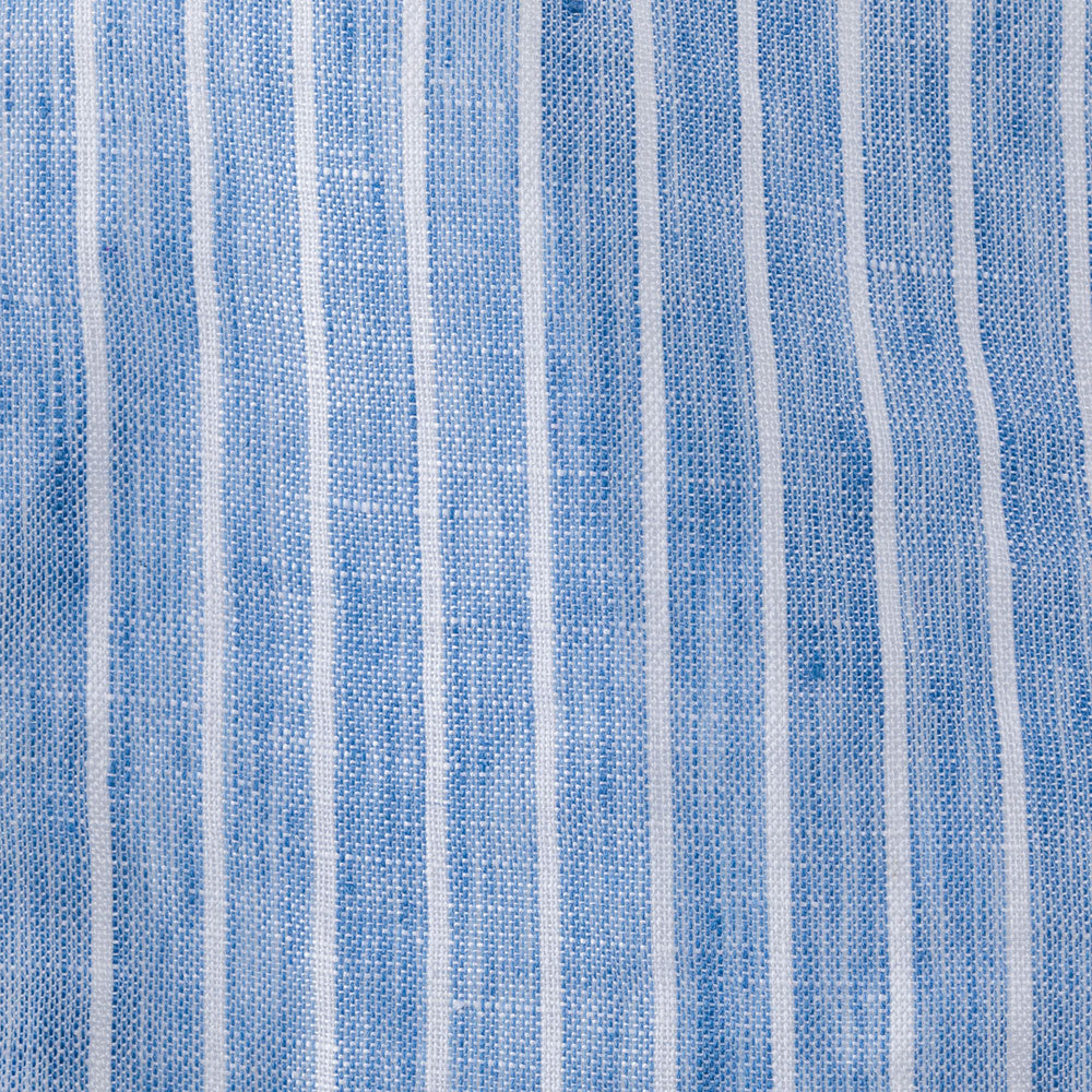 white stripe on blue linen Fabric Swatch