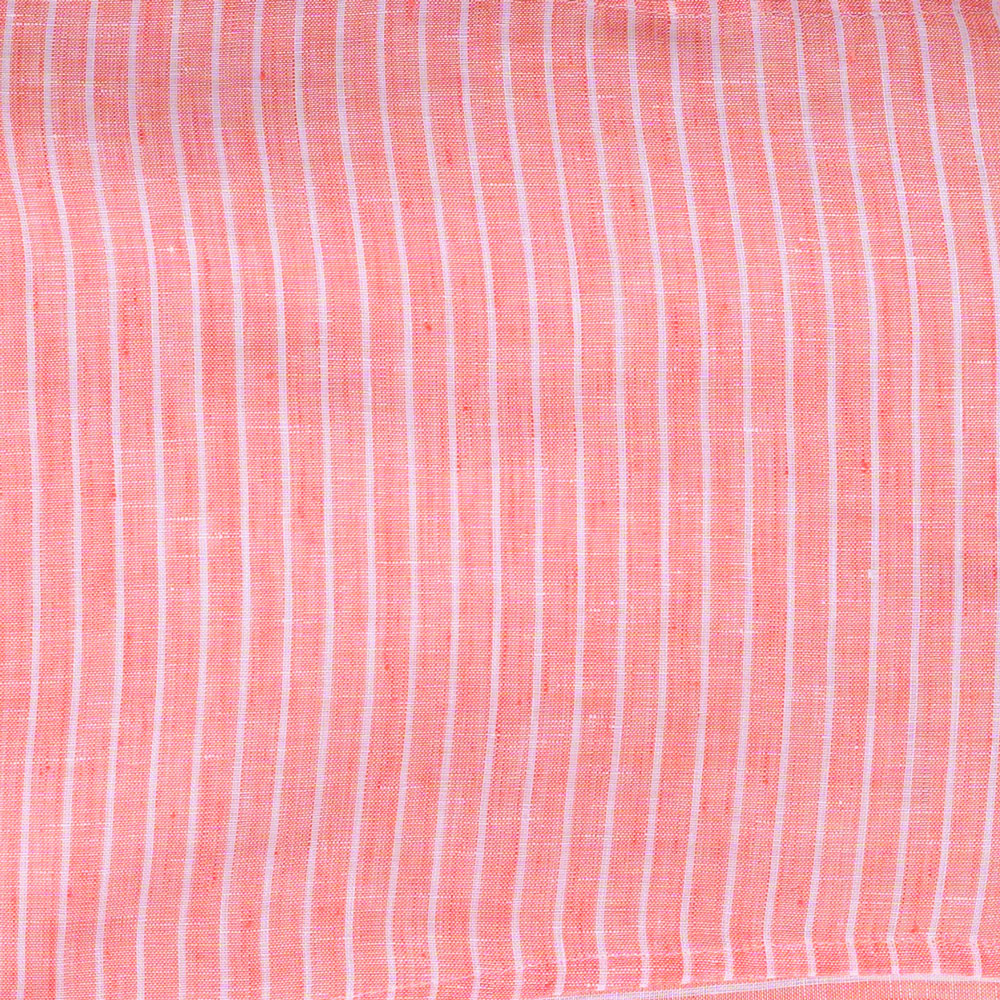 white stripe on coral linen Fabric Swatch