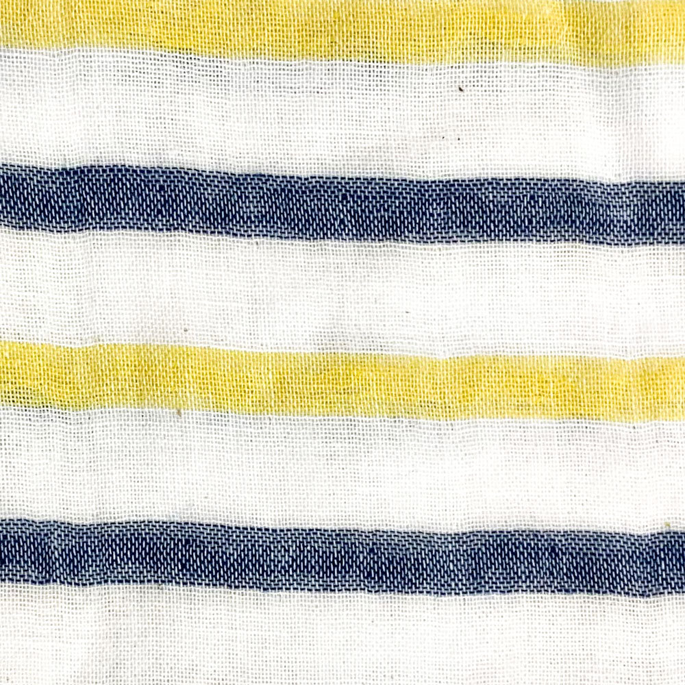 yellow and blue double face stripe Fabric Swatch