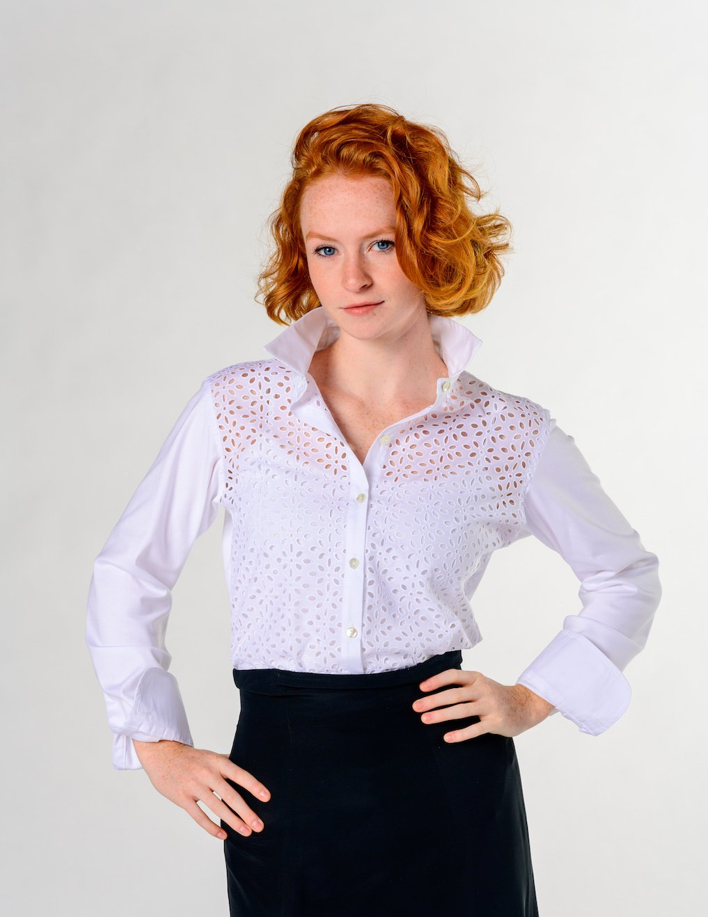 Amaya style. Eyelet cotton with knit back. American Made. Fitted shirt.