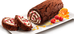 MARLENKA honey roll with cocoa and raspberries