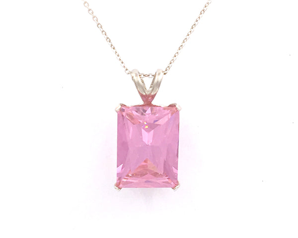 925 Sterling Silver Octagon Shaped Pink Sapphire Solitaire Pendant 20x15 15 CT Lab Created Tourmaline