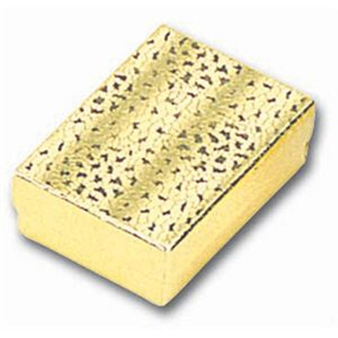 "100 Pc Gold Foil Cotton Filled Jewelry Boxes #10 Box Size 1 7/8"" x 1 1/4"" x 5/8""H"