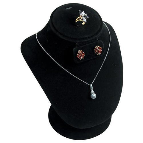 Combination Necklace, Ring, and Earring Bust Display with Round Base - 185-1