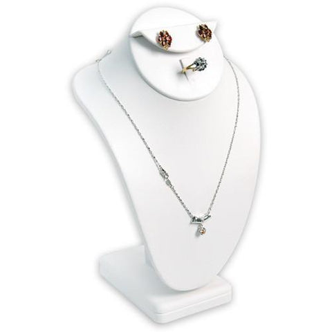 Combination Necklace, Ring, and Earring Bust Display with Square Base - 189-7A