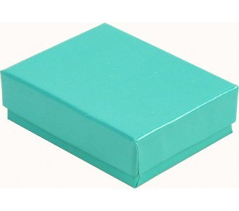 100 Pc Teal Foil Cotton Fill Filled #21 Jewelry Boxes Sz 2  5/8''Lx1 1/2''Wx1''H