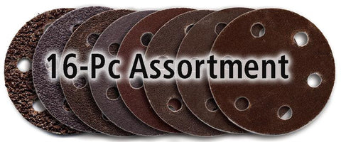 "Foredom 2"" Screw-Lok Aluminum Oxide Sandpaper Discs with Holes, 16-Pc Assortment"