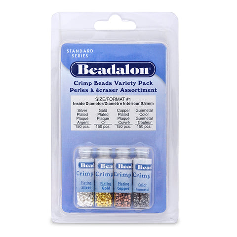 Crimp Bead Variety Pack, Size #1, 1.3 mm (.051 in) I.D., 2.0 mm (.078 in) O.D., Silver Plated, Gold Color, Copper Plated, Hematite Color, 600 pc. Use Standard Crimp Tool.