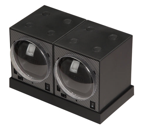 Diplomat Boxy Brick Carbon Fiber Pattern Double Watch Winder Package with Adaptor and Power Extend Station and Smart Internal Bi-Directional Timer Control