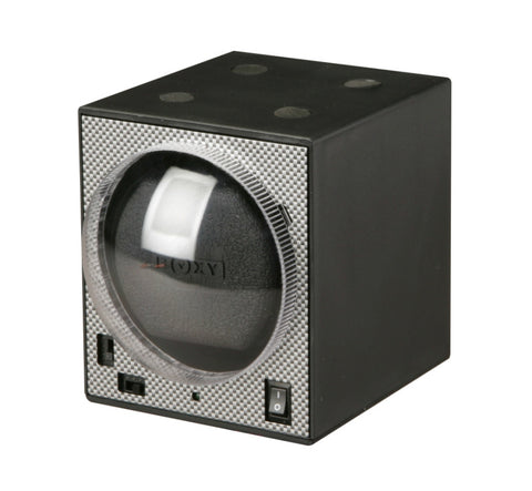 Diplomat Boxy Brick Carbon Fiber Pattern Add-On Watch Winder and Smart Internal Bi-Directional Timer Control